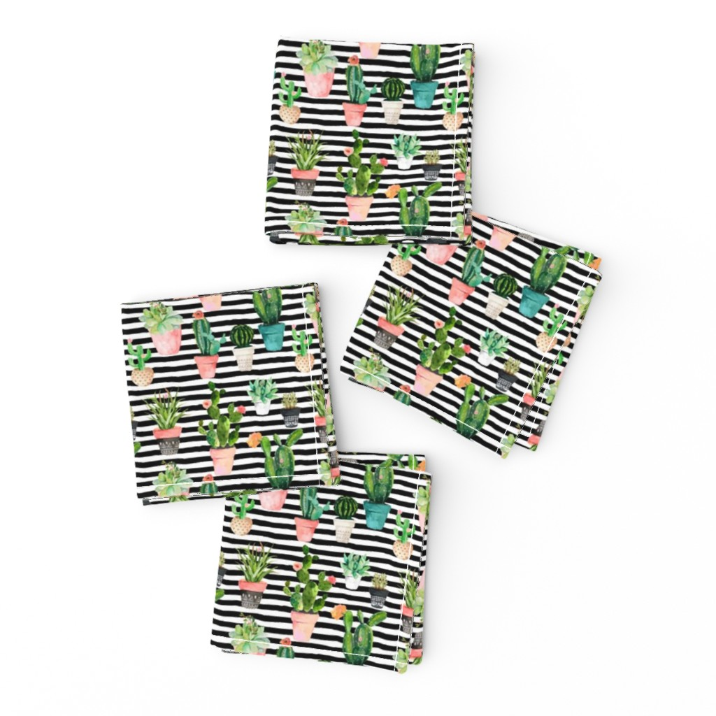 "Frizzle Cocktail Napkins featuring 4"" Cactus Obsession / Black & White Stripes by shopcabin"