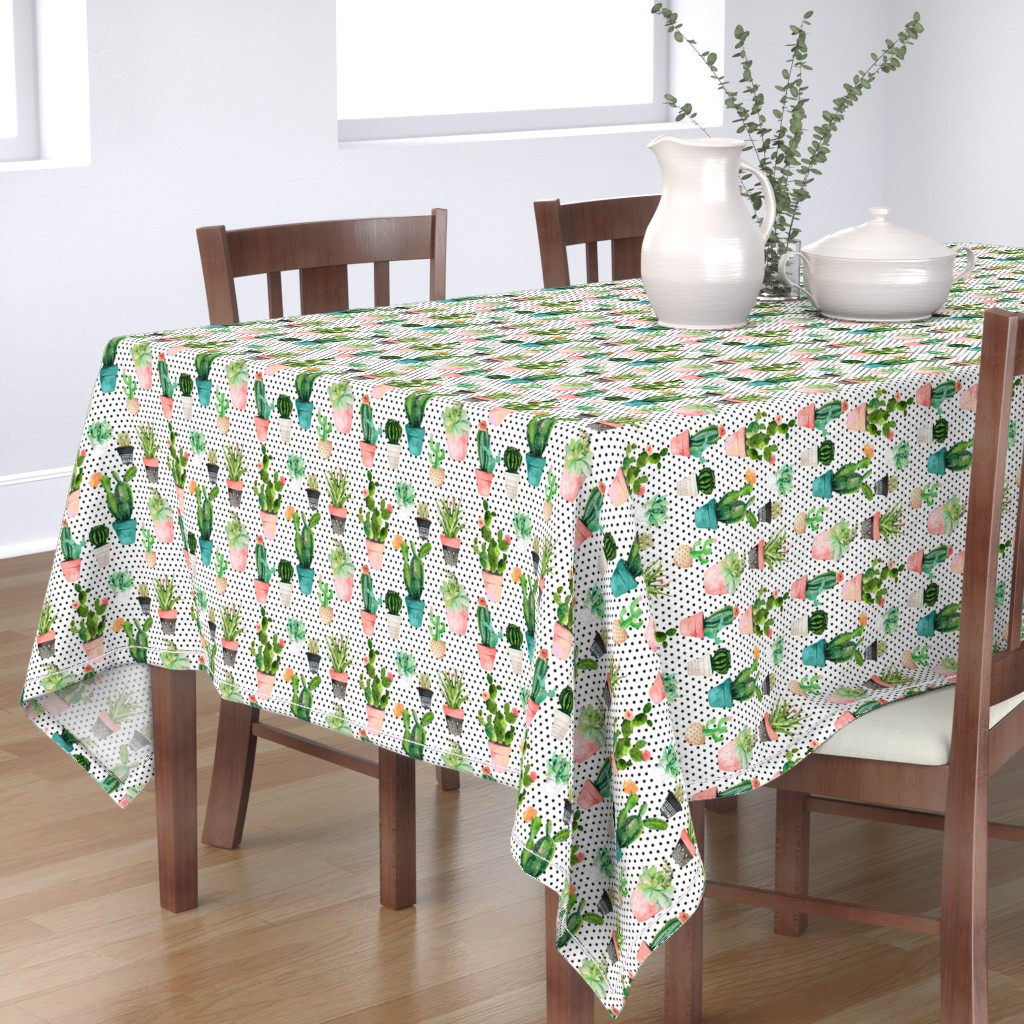 """Bantam Rectangular Tablecloth featuring 8"""" Cactus Obsession /Black & White / Polka Dots by shopcabin"""