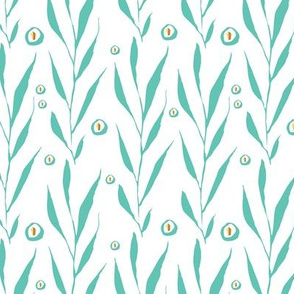 Hand painted leaves branches mint gold dots