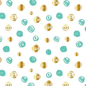 Hand painted mint gold dots