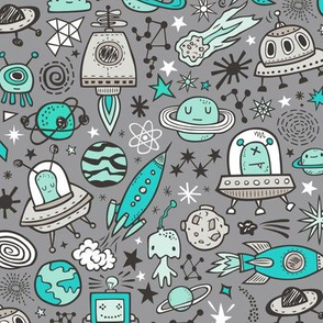 Space Galaxy Universe Doodle with Aliens, Rockets, Planets, Robots & Stars Mint Green on  Dark Grey