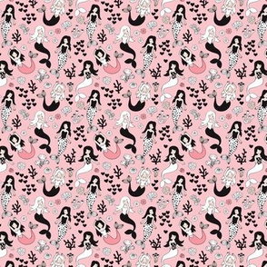 Sweet little mermaid girls theme with deep sea ocean coral illustration details pink black and white XXS