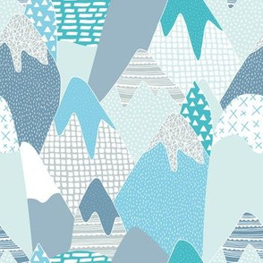 Abstract blue mountains landscape color pops paint and strokes colorful spots for boys