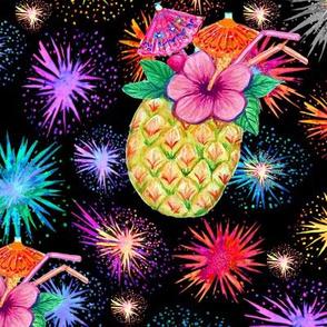 Pineapple Paradise cocktail fireworks & Tiki