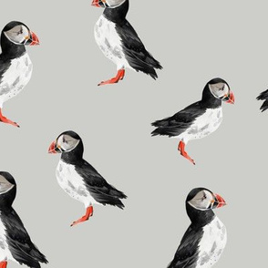 Puffin Party - Light Grey