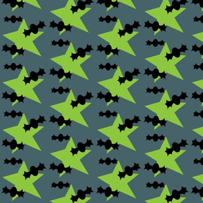 Bats and Stars on Grey