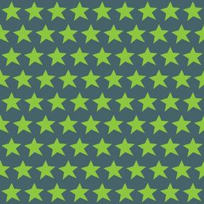 Green Stars on Grey Half Brick Repeat