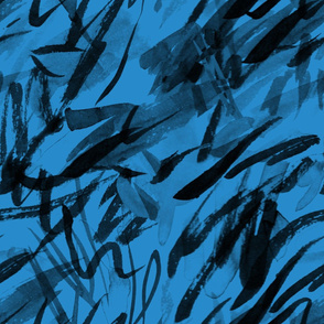 Black on Blue Ink Brush Marks