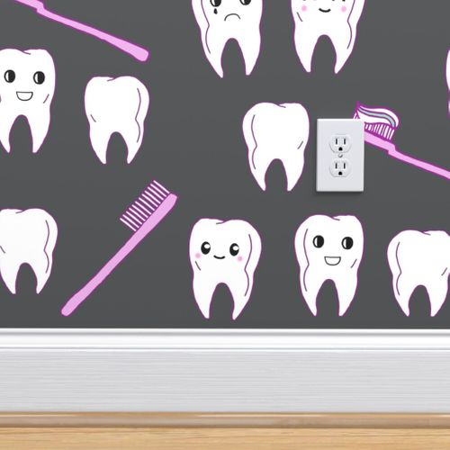 Wallpaper Teeth Fabric Cute Kawaii Tooth Fabric Dentist Teeth Design By Andrea Lauren