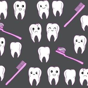 Teeth Fabric Cute Kawaii Tooth Fabric Spoonflower