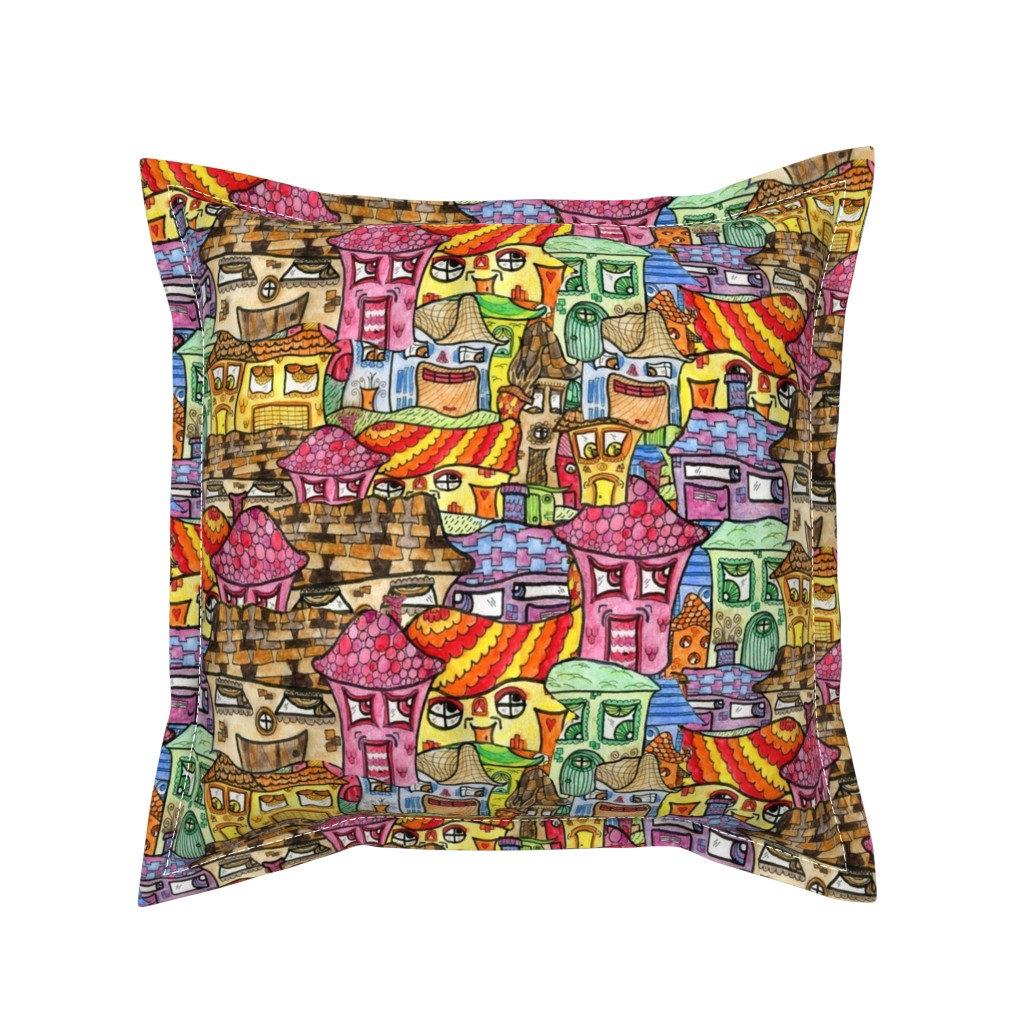 Serama Throw Pillow featuring Suburbia Watercolor Collage, large scale, colorful rainbow by amy_g