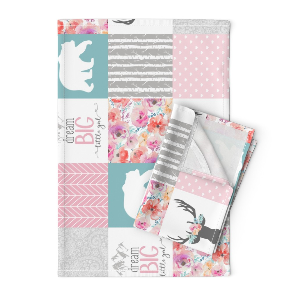Orpington Tea Towels featuring Dream Big Little Girl Wholecloth Cheater Quilt - Rotated by longdogcustomdesigns