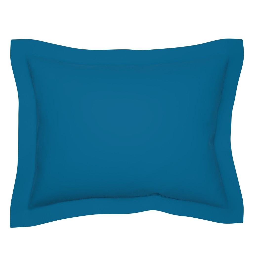 Sebright Pillow Sham featuring MDZ44 - Rich Cyan Blue Solid by maryyx