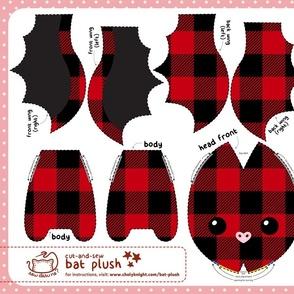 Cut & Sew Plaid Bat Plush