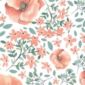 Peach watercolor florals