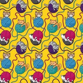 Yarn Cats on Yellow