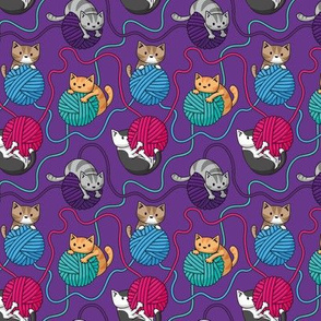 Yarn Cats on Purple
