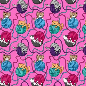 Yarn Cats on Pink
