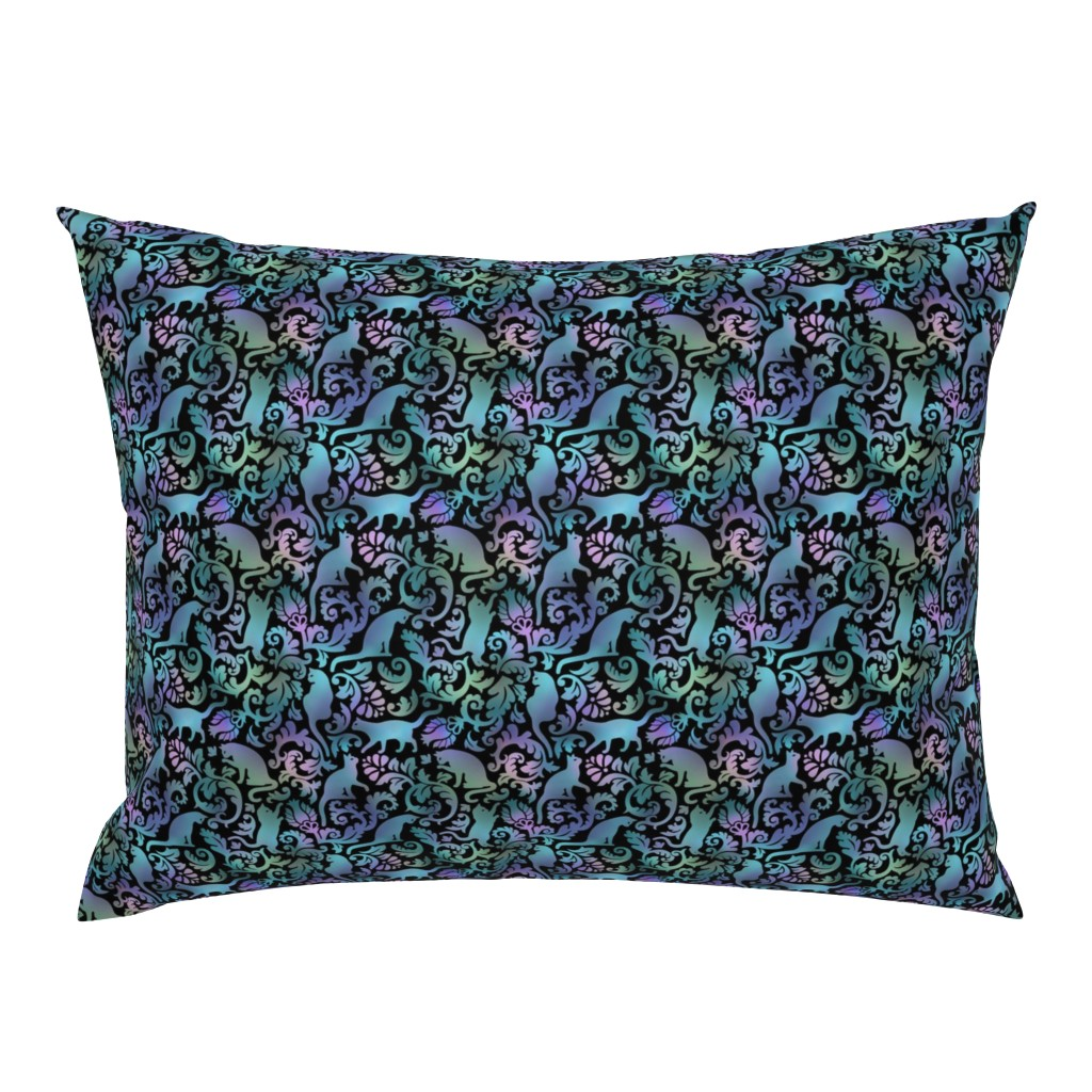 Campine Pillow Sham featuring cats in the garden -  gradient, small, black background by mirabelleprint