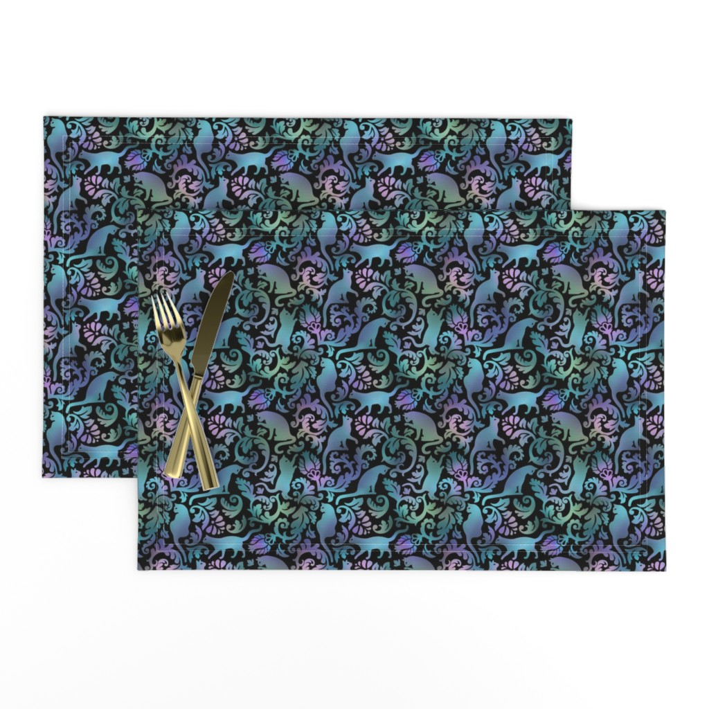 Lamona Cloth Placemats featuring cats in the garden -  gradient, small, black background by mirabelleprint