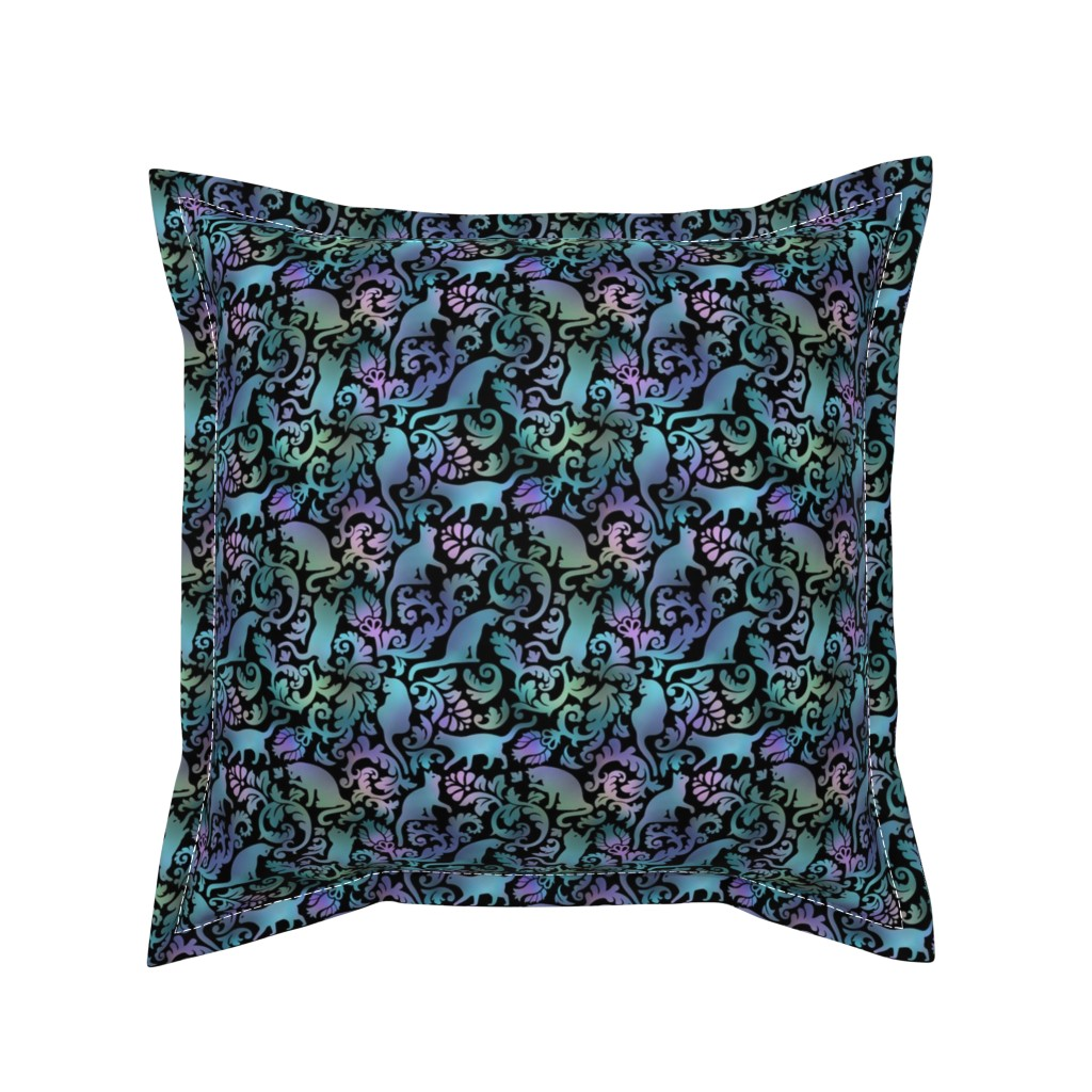 Serama Throw Pillow featuring cats in the garden -  gradient, small, black background by mirabelleprint