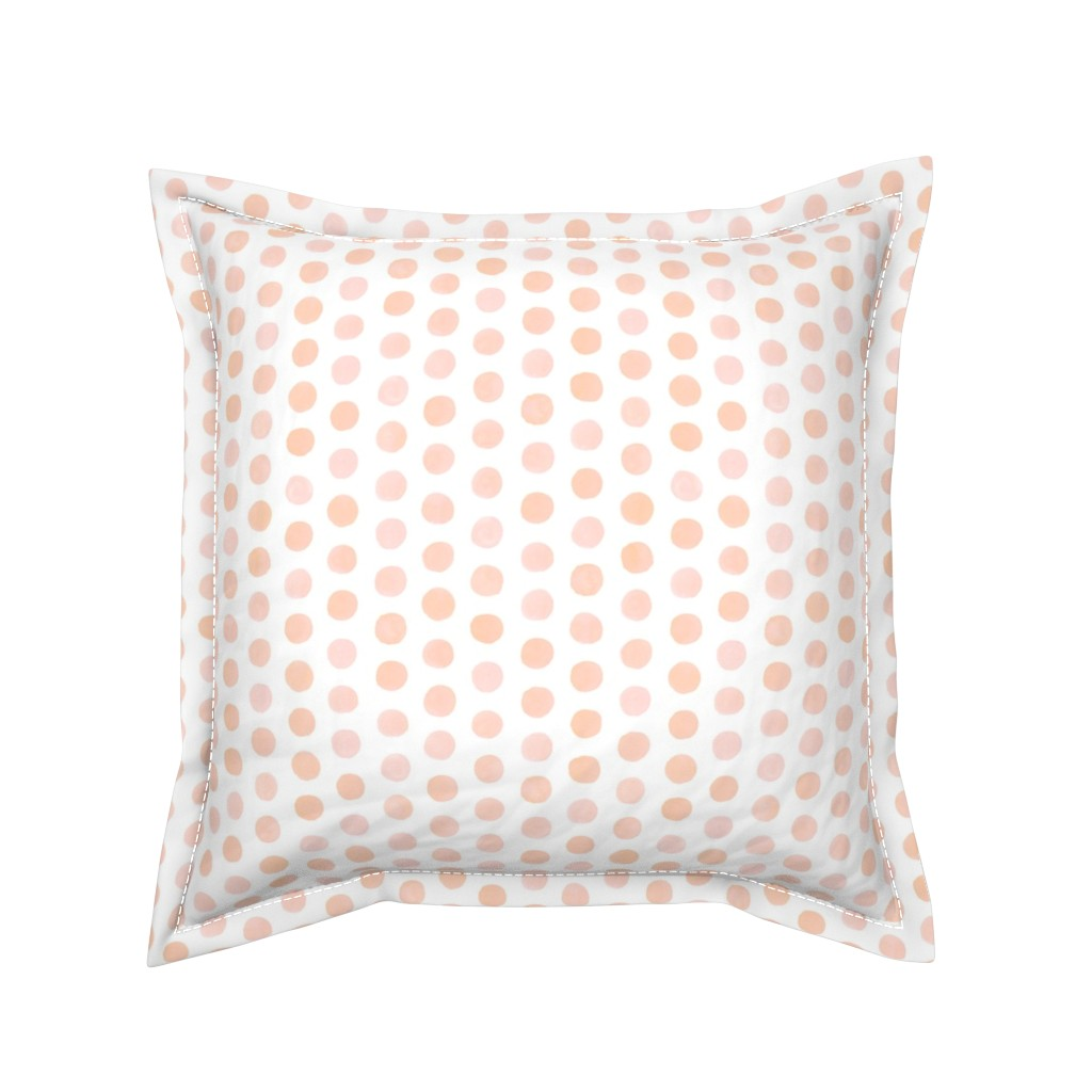 Serama Throw Pillow featuring Watercolor Dots - Blush by nadiahassan