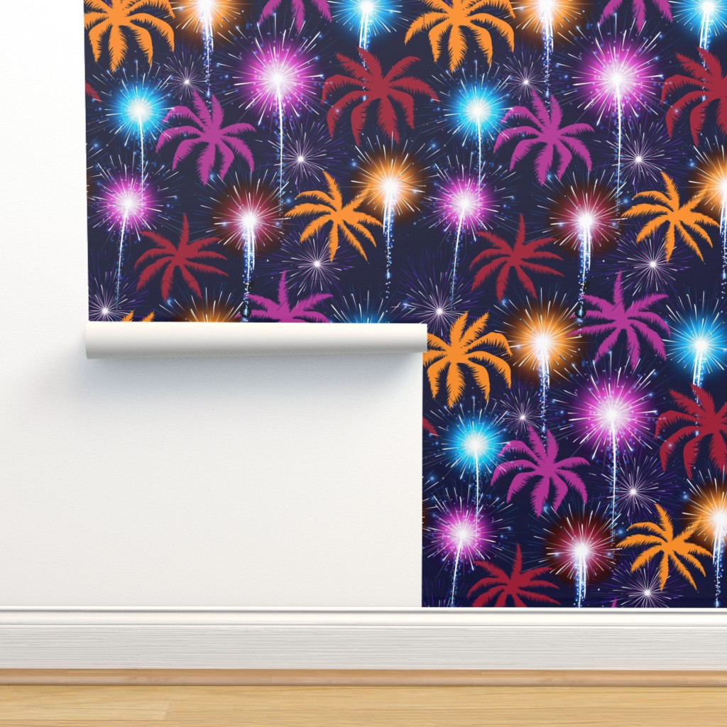 Isobar Durable Wallpaper featuring Palms & Fireworks by xoxotique