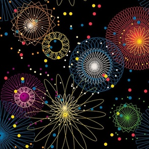 Spiroworks || fireworks outer space geometric lights sparks july 4th independence day celebration