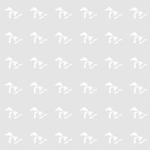 "mini Great Lakes silhouette - 3"" white on neutral pale grey"