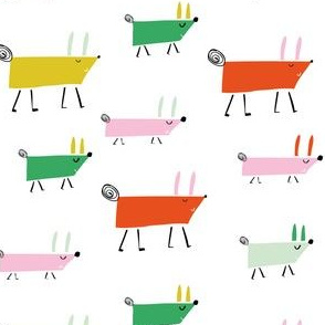 Colorful Marching Dogs pattern Smaller Scale kids illustration