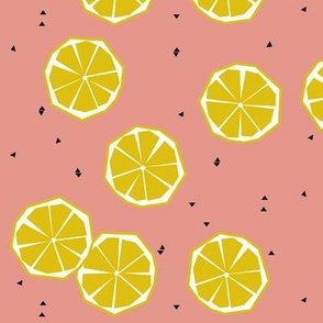 Geometric lemons on coral - summer fruit citrus