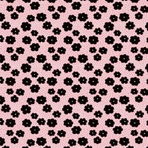 Cool scandinavian style abstract flowers dots and spots brush memphis garden summer pink black and white XXS