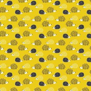Scandinavian sweet hedgehog illustration for kids gender neutral spring black and white yellow XXS