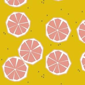 Pink grapefruit slices - tropical summer fruit citrus