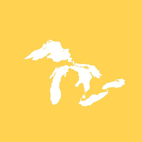 "Great Lakes silhouette - 18"" white on yellow"