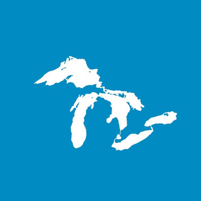 """Great Lakes silhouette - 18"""" white on bright blue"""