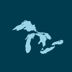 """Great Lakes silhouette - 18"""" light blue on navy"""