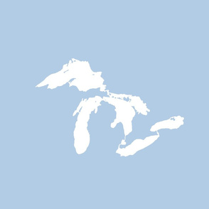 "Great Lakes silhouette - 18"" white on light blue"