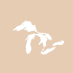 "Great Lakes silhouette - 18"" white on driftwood tan"