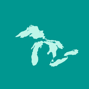 "Great Lakes silhouette - 18"" mint on teal"