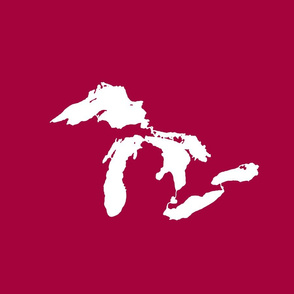 "Great Lakes silhouette - 18"" white on cranberry"