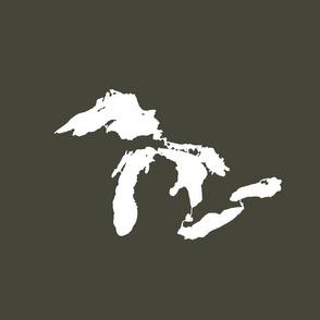 """Great Lakes silhouette - 18"""" white on khaki"""