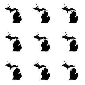 "Michigan silhouette - 6"" black on white"