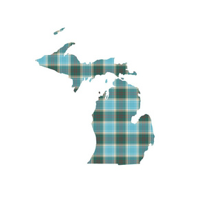 "Michigan silhouette - 18"" tartan on white"