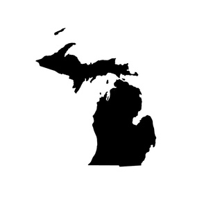 "Michigan silhouette - 18"" black on white"