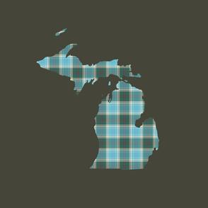 "Michigan silhouette - 18"" tartan on khaki"