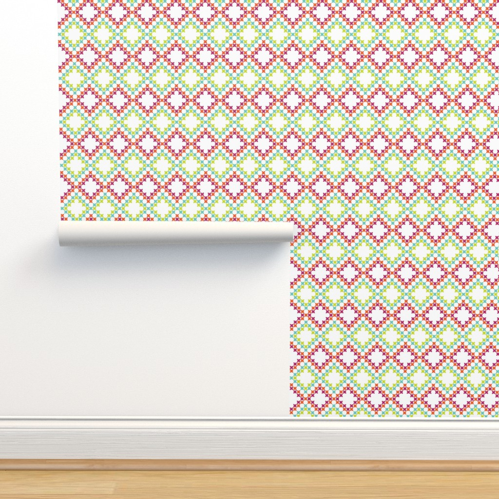 Isobar Durable Wallpaper featuring Bright Cross-Stitch Squares by anniecdesigns