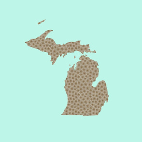 "Michigan silhouette - 18"" petoskey on light blue"