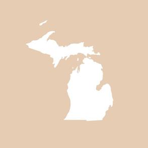 "Michigan silhouette - 18"" white on driftwood tan"
