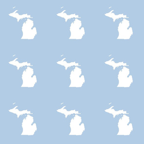 "Michigan silhouette - 6"" white on light blue"